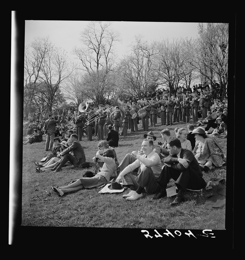 Spectators picnicking before the Point to Point Cup race of the Maryland Hunt Club. Worthington Valley, near Glyndon, Maryland