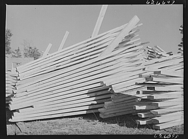 Stacked lumber. Tappahannock, Virginia