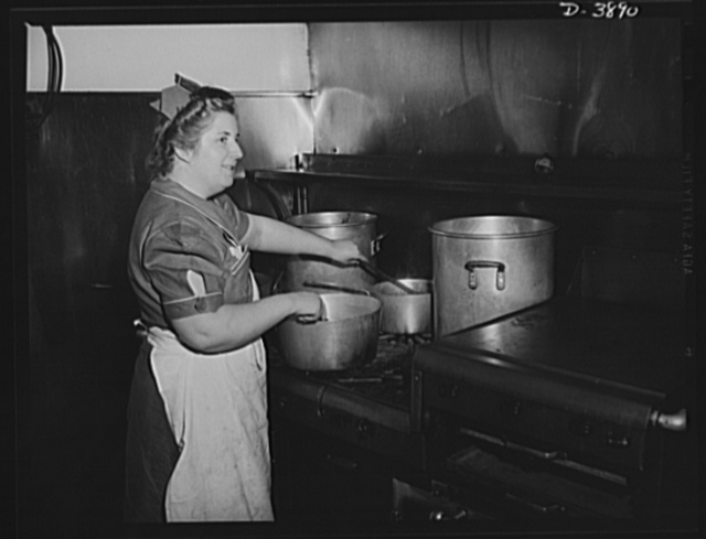 Steel production. Good food for good workers. A capable cook prepares it in the restaurant kitchen of a big Eastern steel plant. Republic, Youngstown