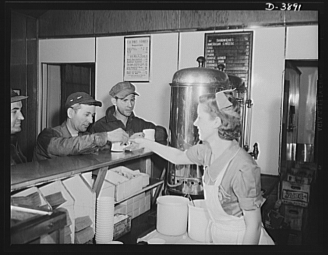 Steel production. Hot coffee for steel workers. A waitress serves employees of a big Eastern plant in the company restaurant. Republic, Youngstown