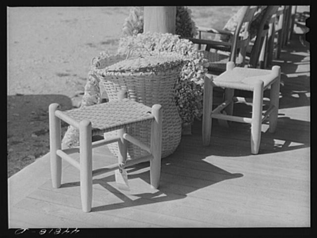 Stools and basket on display at the Virginia crafts co-op on U. S. Highway No. 1, twenty miles north of Fredericksburg, Virginia