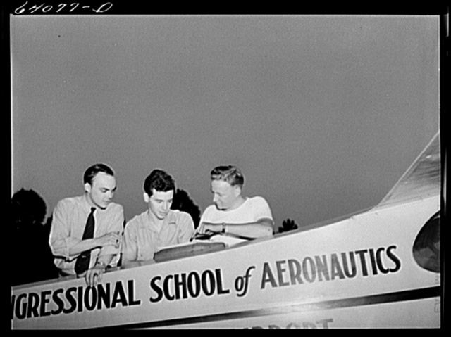Students at Congressional School of Aeronautics under Civilian Pilot Training Program. Rockville, Maryland