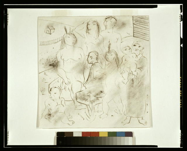 """[Study for """"The teaching of the Indians"""" mural, Hispanic Division, Library of Congress] / Portinari."""