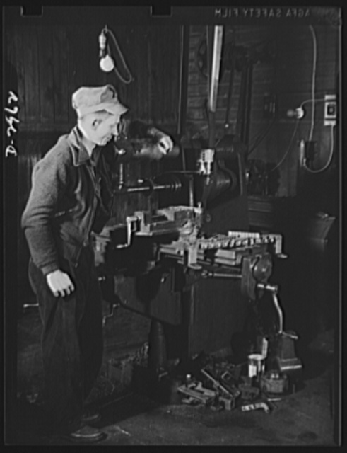 Subcontracting (Beery and Sons). A special jig on this milling machine at the shop of Beery and Sons meant a considerable cut in schedule on a small part ordered by a war subcontractor. If repeat orders for this part come, the time will be cut to one- eighth of the original schedule