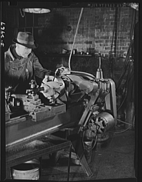 Subcontracting (Wilbarger and Sons). Electrically driven transmission gears have speeded up production at the small Wilbarger and Sons Shop, in Harrisonburg, Virginia. Workers at the shop installed the gears and transmission of an old Ford coupe on this machine and the results have been more than gratifying