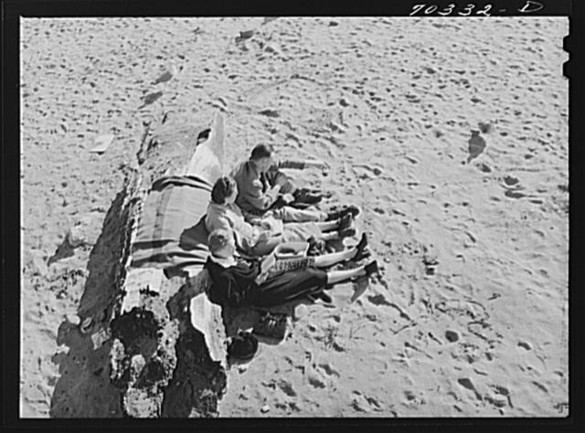 Sunbath on the beach. Seaside, Oregon
