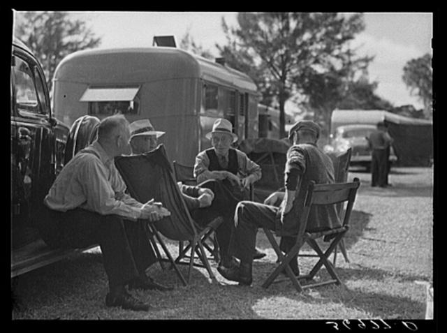 Talking it over. Sarasota trailer park, Sarasota, Florida
