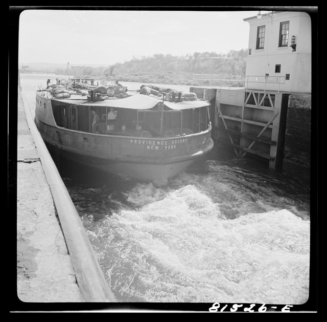Tanker churning out of Lock Eleven, Erie Canal, New York