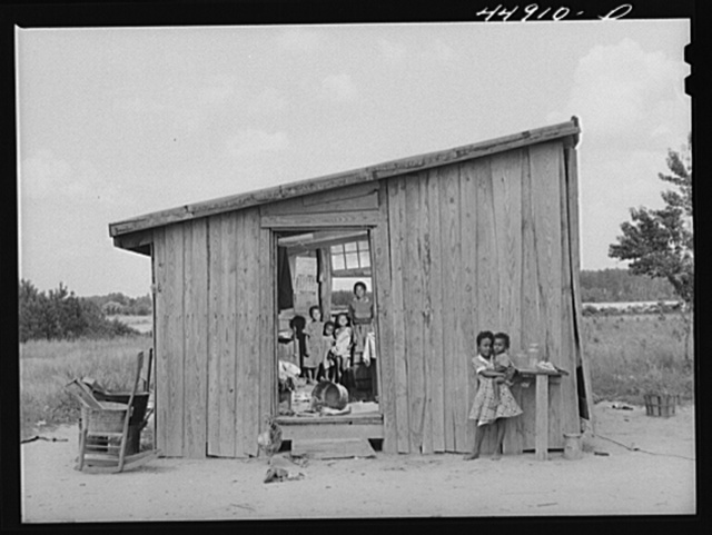 Ten people live in this shack. They must move to make way for the Army maneuver grounds. Caroline County, Virginia