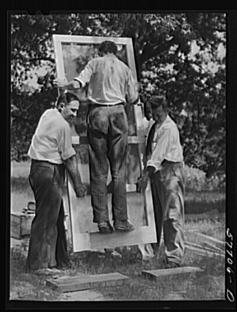 Testing a home-made screen door for strength. Screening demonstration. Charles County, La Plata, Maryland