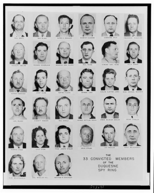 The 33 convicted members of the Duquesne spy ring