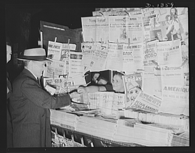 The four freedoms. No government censor passes on what may appear in these publications. Crowded newstands such as these, with journals representing every political party and every social theory are possible only in a democracy, where there is freedom of speech and of the press