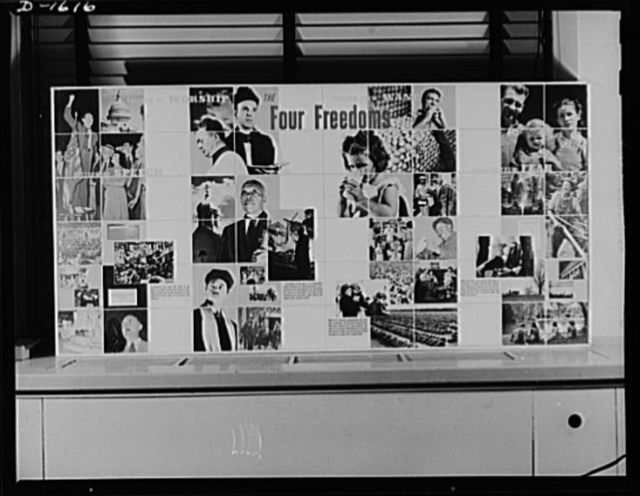 """The four freedoms. The panel is part of an exhibit prepared for the Office of War Information by Jean Carlu, eminent poster artist. The actual size of the panel is 15 x 30 feet. Another montage of the same size, The Arsenal of Democracy, comprises a companion piece to """"The Four Freedoms"""" panel and completes the exhibit. This exhibit will be shown by the OWI in scores of cities throughout the country"""