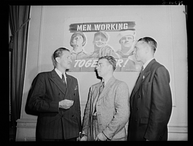 The three heroes, Earl Schenck, Earl Williams, and Dmitri Goulandris, who spoke before labor-management committee members at Hazleton, July 30th
