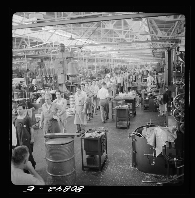 The three o'clock shift on way out. Pratt and Whitney Aircraft Corporation. East Hartford, Connecticut