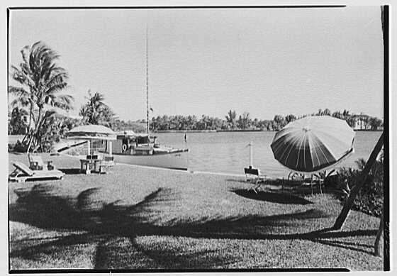 Theodore D. Buhl, residence on Island Rd., Palm Beach, Florida. Lake Worth from lawn