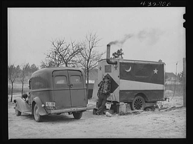 This trailer was occupied by two men working at Fort Bragg, North Carolina, who had come from West Virginia. They bought the trailer from a fortune teller at a circus. At a camp near Fayetteville, North Carolina