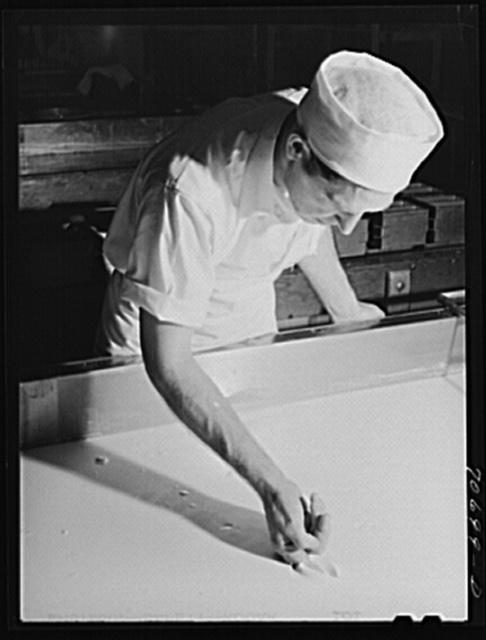 Tillamook cheese plant. Tillamook County, Oregon. Workman determining degree of progress in curdling milk