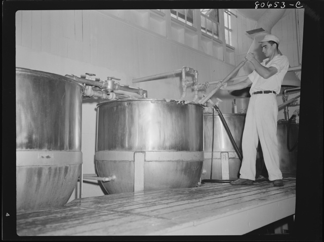 Tomato juice is boiled in open vats and then piped to the canning room. Phillips Packing Company, Cambridge, Maryland