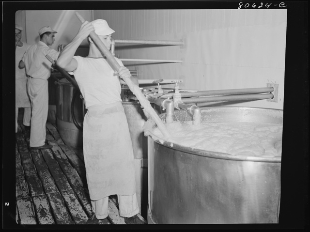 Tomato juice is boiled in open vats and then piped to the canning room. Phillips Cannery, Cambridge, Maryland