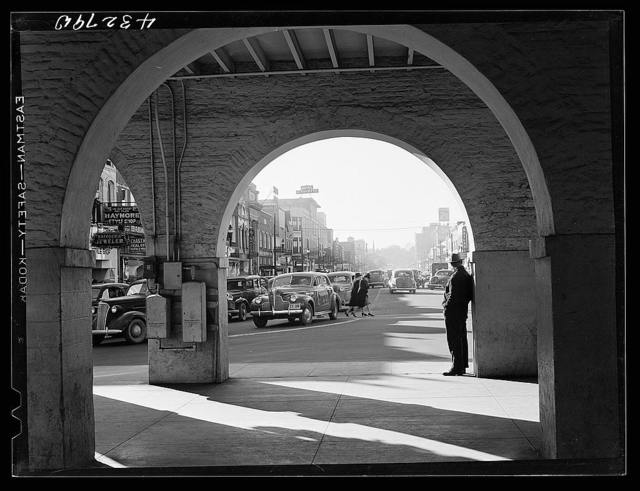 """Traffic on the main street of Fayetteville, North Carolina at about five o'clock, when the workers start coming out of Fort Bragg, North Carolina.  Seen from the """"old market place"""" in the center of Fayetteville"""