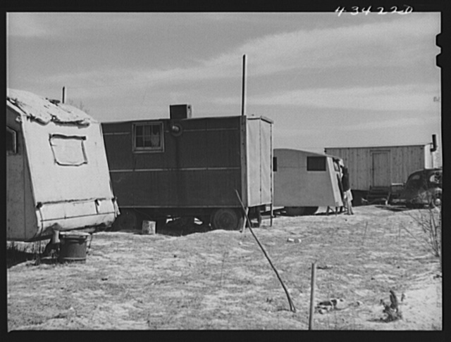 Trailer camp for construction workers at Fort Bragg. Near Fayetteville, North Carolina