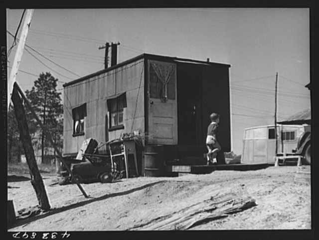 Trailer in a settlement for workers from Fort Bragg, near Manchester, North Carolina
