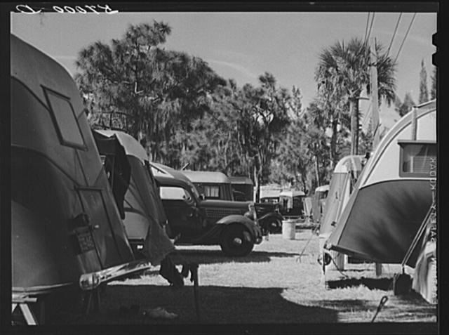 Trailers and cars in Sarasota trailer park. Sarasota, Florida