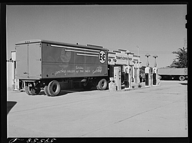 Transport truck in service station. Scottsbluff, Nebraska