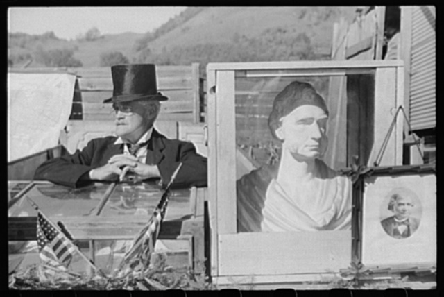 """Tunbridge, Vermont. One of the ballad singers at an exhibit of early American education at the """"World's Fair"""""""