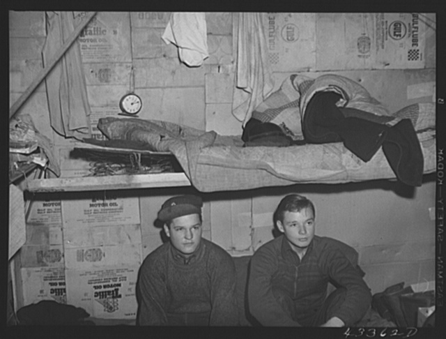 Two of the three occupants of a small shack in a settlement for workers from Fort Bragg near Fayetteville, North Carolina