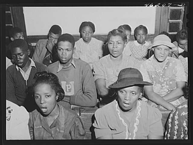 Union Point, Greene County, Georgia. Community sing in the Negro church