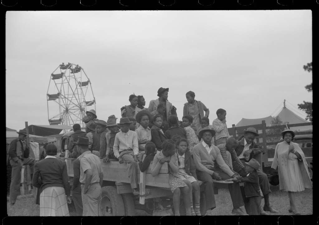 Untitled photo, possibly related to: Negro schoolchildren came to the Greene County fair in trucks. Greensboro, Georgia