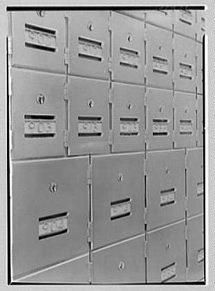 U.S. Courthouse and Post Office, 9th and Chestnut Sts., Philadelphia, Pennsylvania. Post office lock boxes