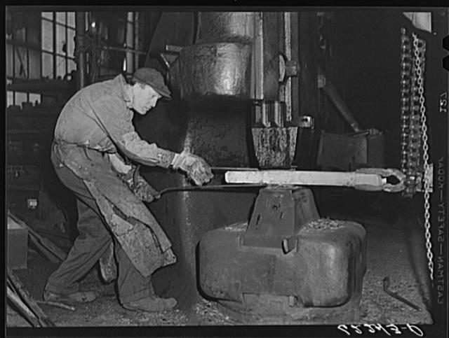 Using a 2000 pound steam hammer on jar rein for drilling equipment. Keystone Drilling Company, Beaver Falls, Pennsylvania