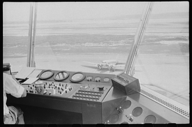 View from inside the control tower at the municipal airport, in Washington, D.C.