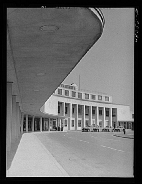 View of the front of the airport building. Municipal airport, Washington, D.C.