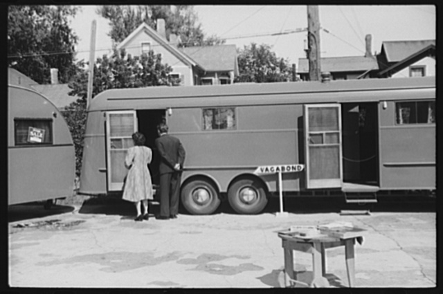 Visitors inspecting the trailer exhibit at the Rutland Fair, Rutland, Vermont