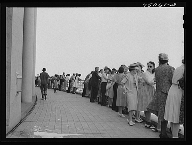 Visitors on the observation platform overlooking the field. Municipal airport, Washington, D.C.