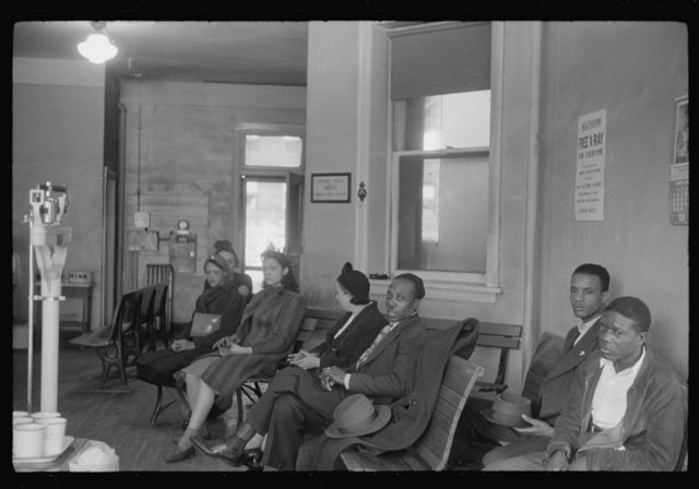 Waiting room at the municipal tuberculosis sanitarium, Chicago, Illinois