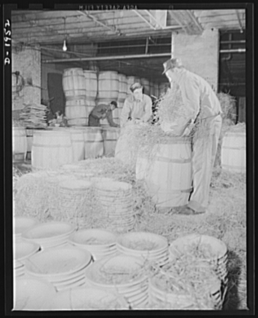 Ware shipped to the Army Quartermaster has straw placed between each piece and is then packed in large wooden barrels. Shenango Pottery Works, Newcastle, Pennsylvania