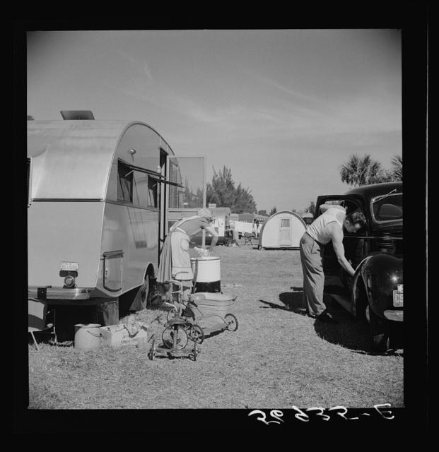 Wash day in Sarasota trailer park. Sarasota, Florida
