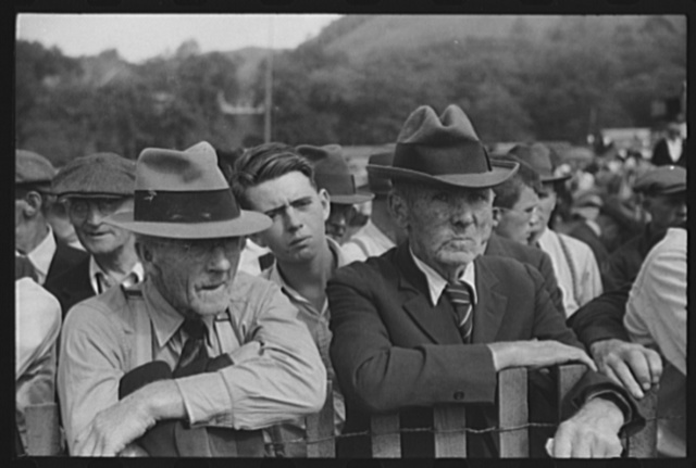 """Watching the weight-pulling contest at the """"World's Fair"""" in Tunbridge, Vermont"""