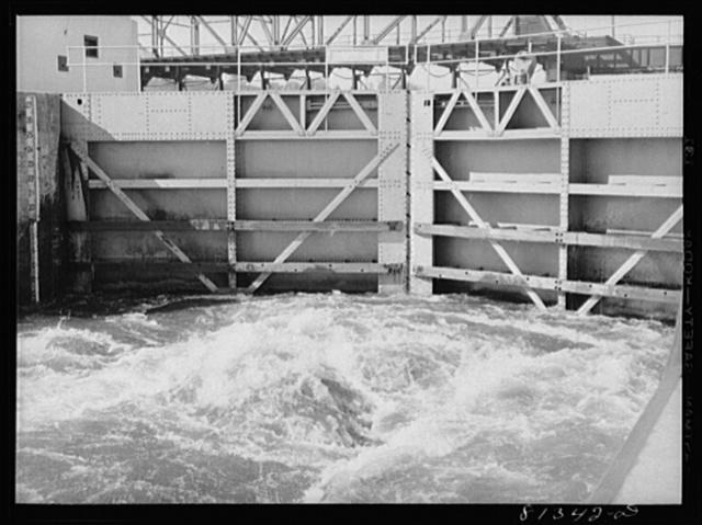 Water pouring into lock. Lock Eleven, Amsterdam, New York