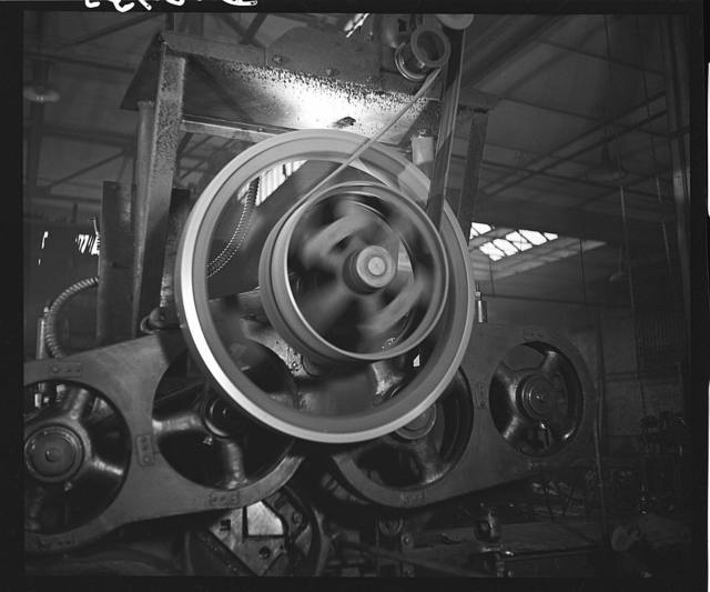 Wheels and belts for turning metal strip cutter. Gichner Iron Works, Washington, D.C.