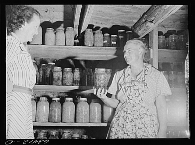 Wife of FSA (Farm Security Administration) borrower showing canned goods to home supervisor. Mille Lacs County, Minnesota