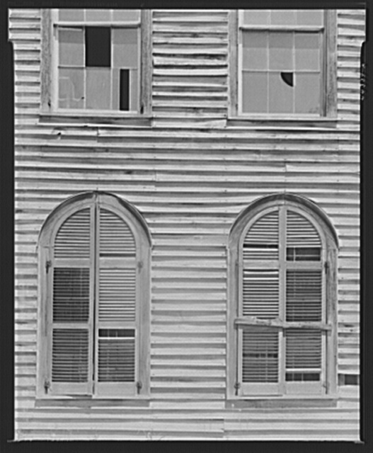"Windows of the old ""Plea Flucker"" house in the Temperance Bell community. Greene County, Georgia"