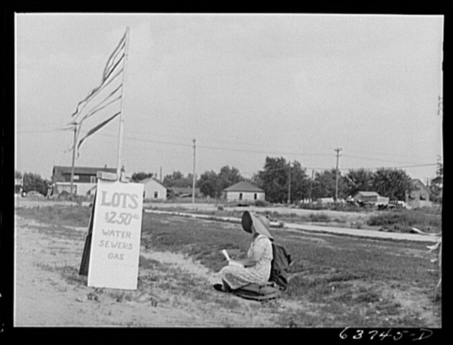 Woman selling lots along the highway near Detroit, Michigan