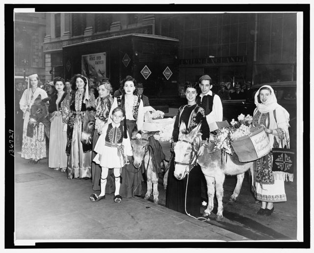 [Women and two boys dressed in traditional Greek costumes and  burros carrying baskets of flowers on their backs, posed on a New York City street  as part of a fund raising drive for the Greek Emergency Fund] / World Telegram & Sun photo by C. M. Stieglitz.