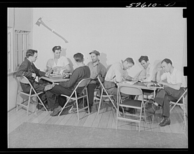Workers from electric boat company plant in recreation room of new dormitory for workers in defense industries. Groton, Connecticut. Constructed and managed by FSA (Farm Security Administration)